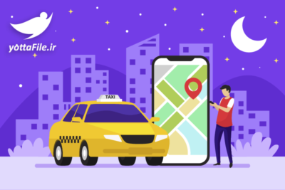 دانلود وکتور مفهومی برنامه تاکسی آنلاین - یوتا فایل مرجع فروش فایل