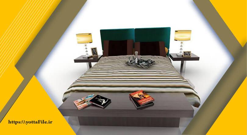 دانلود مدل های آماده سه بعدی تخت خواب   یوتا فایل مرجع فایل های سه بعدی