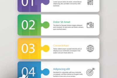 اینفوگرافیک رنگارنگ لایه باز مراحل فرایند - یوتا فایل مرجع دانلود و فروش فایل