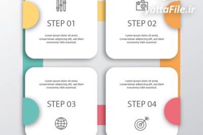 دانلود فایل لایه باز اینفوگرافیک خام مراحل 4 مرحله ای | یوتا فایل مرجع فروش فایل همراه با مخزن عظیم فایل قالب های آماده اینفوگرافیک