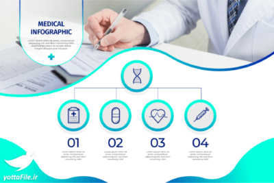 دانلود طرح لایه باز اینفوگرافیک پزشکی به همراه تصویر باکیفیت با فرمت Ai و EPS | یوتا فایل مرجع فروش فایل همراه با مخزن عظیم فایل قالب های آماده اینفوگرافیک