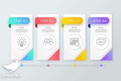دانلود فایل لایه باز اینفوگرافیک مرحله به مرحله رنگارنگ طراحی فلت | یوتا فایل مرجع دانلود و فروش فایل