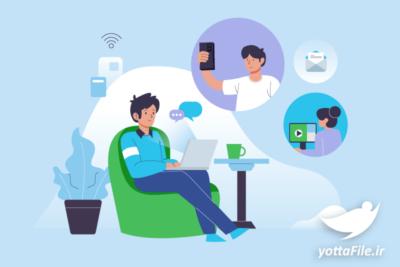 وکتور مفهومی صحبت کردن آنلاین با دوستان - یوتا فایل مرجع دانلود و فروش فایل