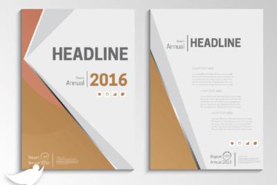 دانلود طرح جلد لایه باز گزارش سالیانه با رنگ قهوه ای و رسمی